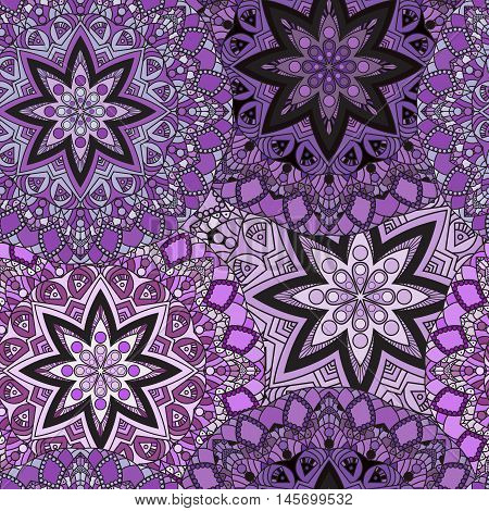 Violet seamless design in oriental style. Stellar mandalas background for card, front-side, cover or wrapping paper. Indian, arabic, chinese, turkish lace print