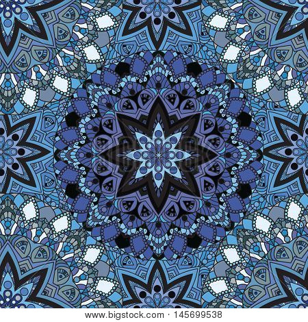 Blue seamless design in oriental style. Stellar mandalas background for card, front-side, cover or wrapping paper. Indian, arabic, chinese, turkish lace print