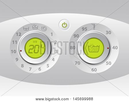 Wash machine manual and digital control panel with green lcd
