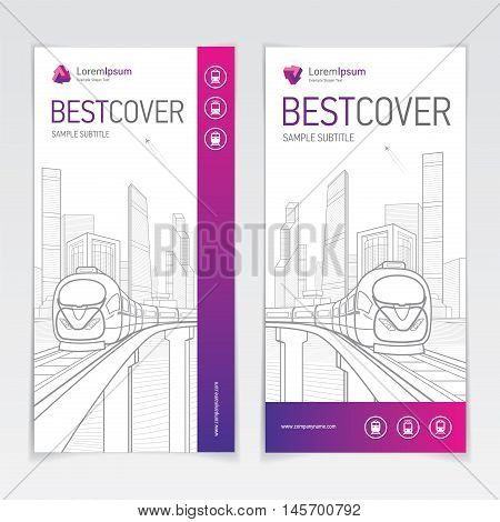 Covers booklet business architecture and transport, modern design, purple, magenta, pink and grey, icons and logo, vector sample design