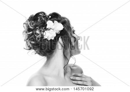 Young Woman Bride With Beautiful Hairstyle And Stylish Hair Accessory, Rear View. Isolated On White