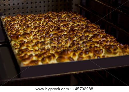 Buns on oven tray. Pastry shaped as pine cones. Dessert for guests of wedding. Warm dough with crust.