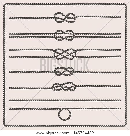 Rope knots collection. Rope swirls logos and badges. Vector illustration. Marine rope knot. Vector Rope. Set of nautical rope knots corners and frames. Decorative elements in nautical style.