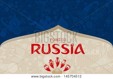 Russian blue background world of Russia pattern with modern and traditional elements vector illustration