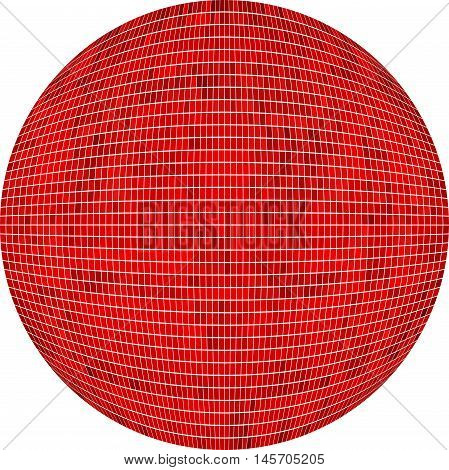 Red Ball in mosaic - Illustration,  Red Sphere vector,   Abstract Grunge red Mosaic in circle