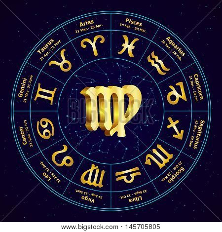 Gold Sign Of Zodiac  Virgo In Circle