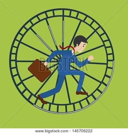 Businessman in hamster wheel. Hard work metaphor. Cartoon colorful vector illustration