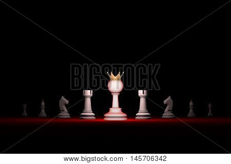 Prompt career. Horizontal chess composition. Standing Out from the Crowd. Available in high-resolution and several sizes to fit the needs of your project. 3D renderi illustration. Black background layout with free text space.