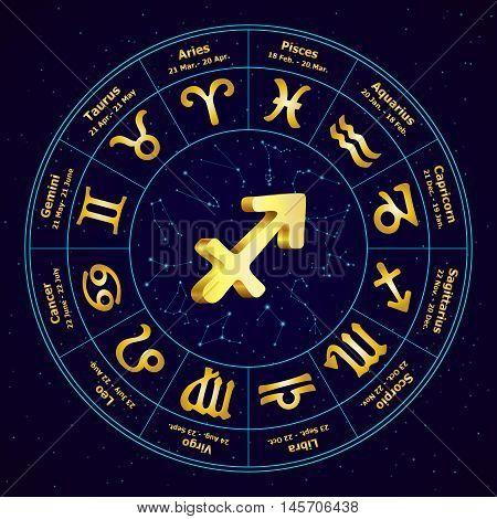 Gold Sign Of Zodiac  Sagittarius In Circle