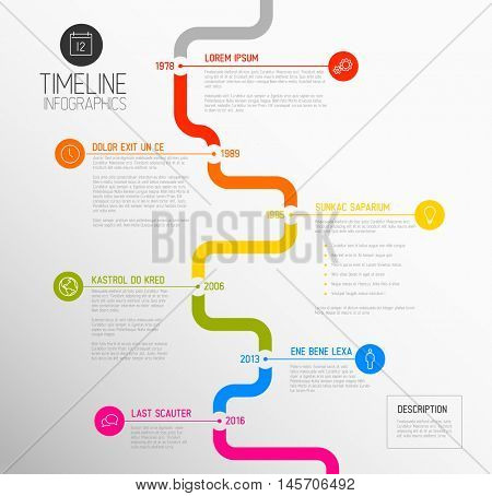 Vector Infographic timeline report template with the biggest milestones, icons, years and color buttons - vertical time line version