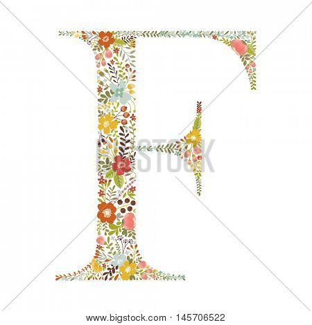 F letter with decorative floral ornament