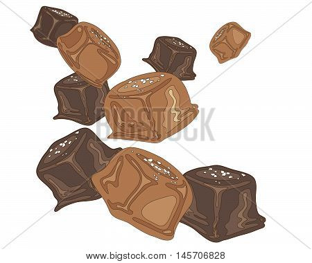 an illustration of a salted caramel candy pieces on a white background