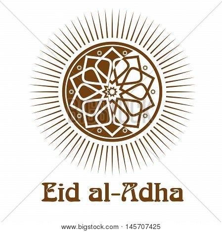 Eid al-Adha - Festival of the Sacrifice. Gold icon and lettering - Eid-Ul-Adha. Illustration isolated on white background