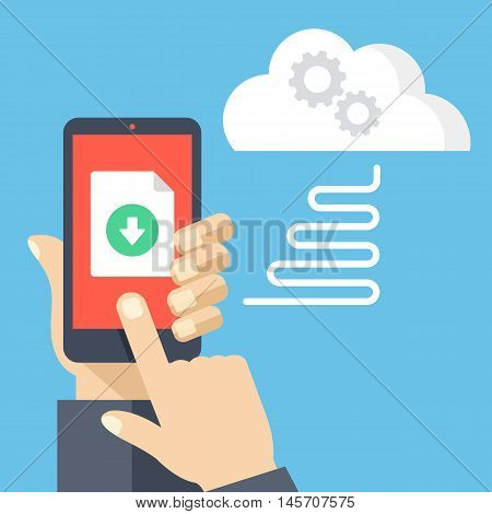 Downloading file from online cloud storage to mobile phone. Hand holding smartphone, finger touching screen with document and download button. Modern flat design vector illustration