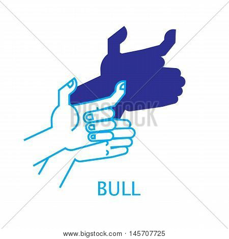 Shadow Hand Puppet Bull. Vector Illustration of Shadow Hand Puppet Isolated on a White Background. Shadow Theatre or Shadow Play. Icon of Shadow Hand Puppet Bull in Mix Style.