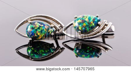 Silver Earrings In The Shape Of Human Eyes With Multi-colored Stones