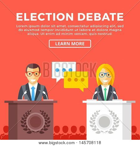 Election debate. Presidential candidates at rostrum, supporters behind. Modern concepts, graphic elements for web banners, web design, infographics, printed materials. Flat design vector illustration