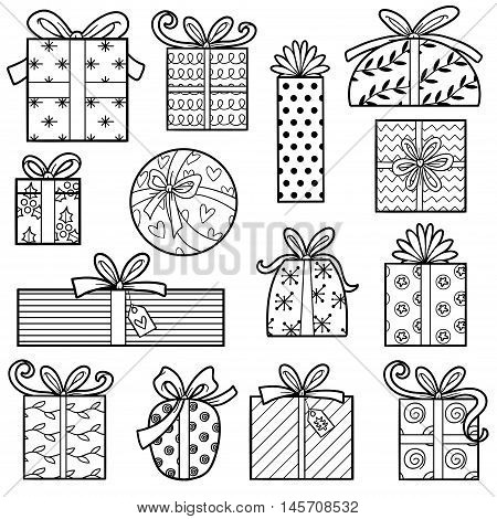 Vector colorless collection Set of Christmas gifts