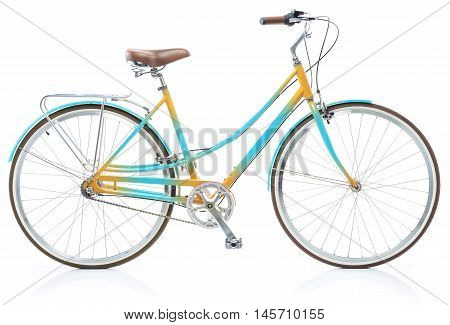 Stylish womens blue and yellow bicycle isolated on white background
