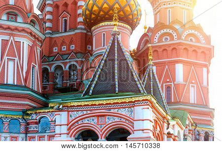 Saint Basil's Cathedral in Red Square at sunset, Moscow, Russia.