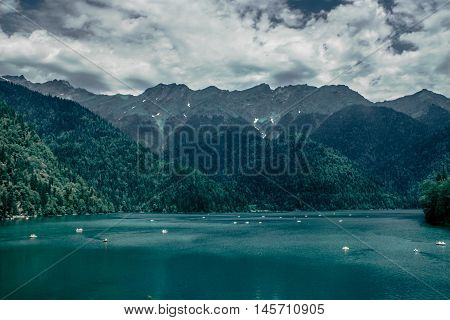 Lake Ritsa in Abkhazia. Mountain Lake. Attractions Abkhazia