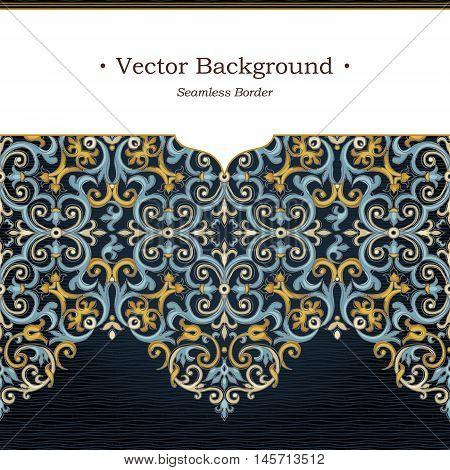 Vector Ornate Seamless Border In Eastern Style.