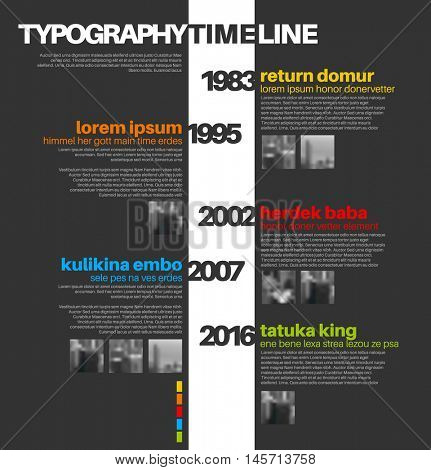 Vector Infographic typographic timeline report template with the biggest milestones, photos, years and description - dark background version