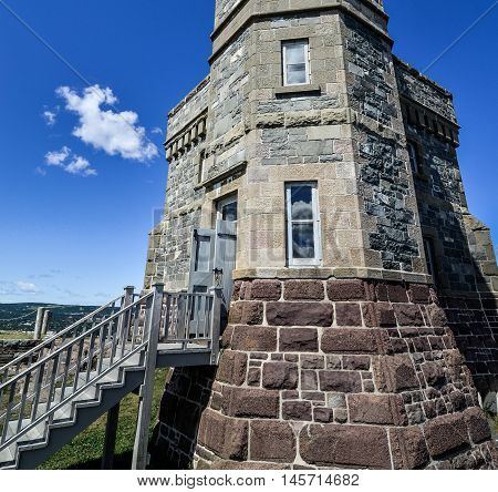 Detail of entrance to the radio communications tower, Signal Hill, St. John's, Newfoundland, Canada.