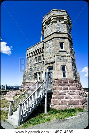 Rectilinear wide angle view of entrance to radio communications tower, Signal Hill, St. John's, Newfoundland, Canada.