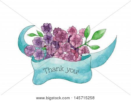 Thank you card with hand drawn bouquet of violet flowers with a blue ribbon, for your personal design for greeting cards, invitations, wedding cards and to thank somebody.