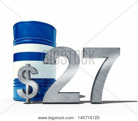 3d illustration of oil price falling concept as a barrel of crude petroleum and dollar sign with price declining prices in fossil energy isolated on white background