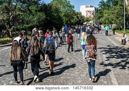 ATHENS GREECE - APRIL 26 2016:view of Dionisiou Areopagitou street in Athens with crowd