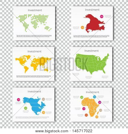Collection Business Investment World, USA, Australia, North America, Africa Maps Presentation slide Template, Business Layout design, Modern Style. For your next commercial projects or personal use.