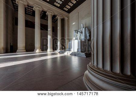 Early morning sun lighting up the Lincoln Memorial., Washington DC, USA