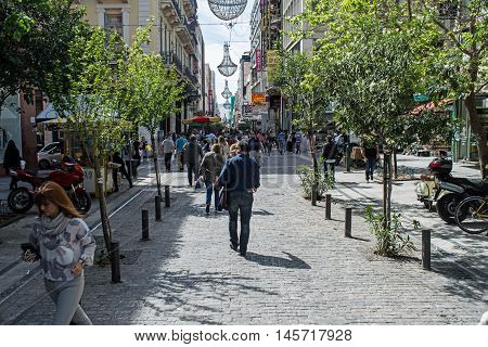ATHENS GREECE - APRIL 27 2016:view of Ermou street in Athens with crowd