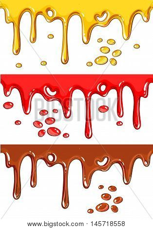 Set of chocolate, honey, and strawberry drips, cartoon style vector illustration isolated on white background. Yummy chocolate, honey, and strawberry decoration elements
