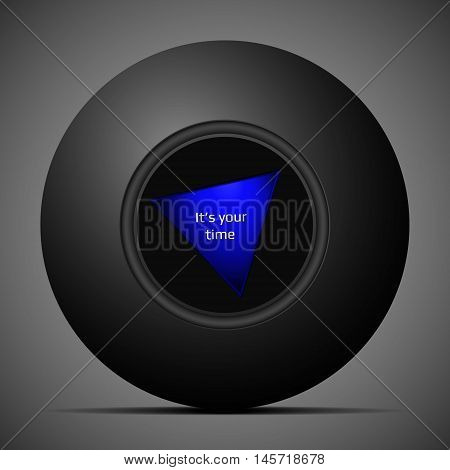 Isolated black magic ball answers to your question and shows you the way for your design or advertisement. Vector illustration.