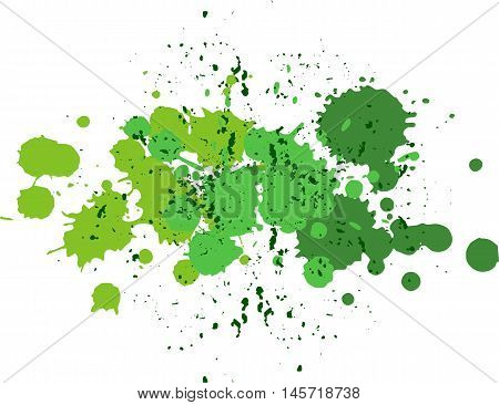 Background with blots and splashes of paint. Vector blots and vector  splashes.Green blobs