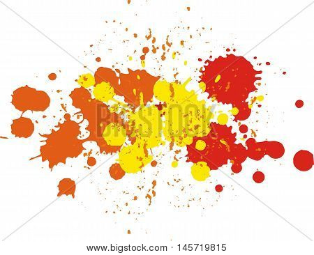 Background with blots and splashes of paint. Vector blots and vector  splashes.Yellow, orange and red blobs