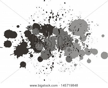 Background with blots and splashes of paint.  Vector blots and vector  splashes. Gray and black blobs