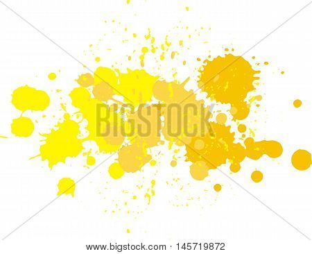 Background with vector blots and splashes of paint. Yellow blobs