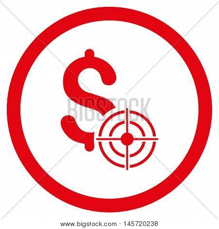 Business Target rounded icon. Vector illustration style is flat iconic symbol, red color, white background.
