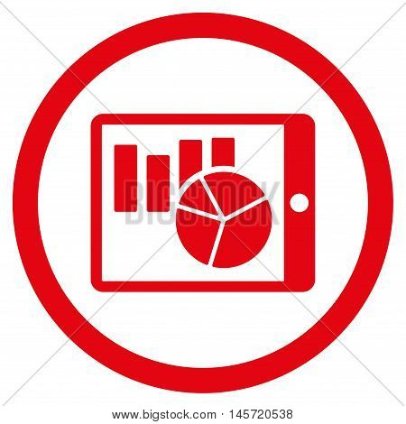Charts on Pda rounded icon. Vector illustration style is flat iconic symbol, red color, white background.