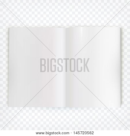 Vector open blank magazine spread. Book spread with blank white page. Spreadsheet isolated on transparent background