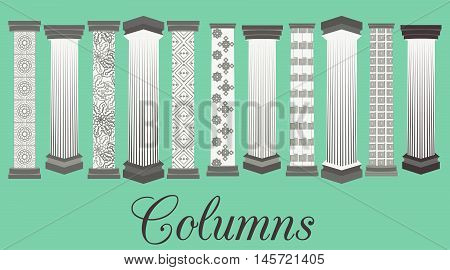 Column set. Doric Roman style. Vector illustration.