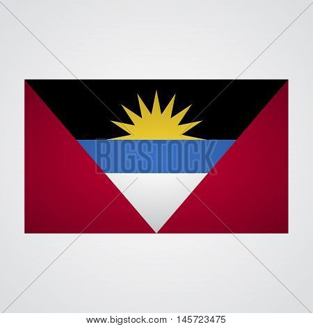 Antigua and Barbuda flag on a gray background. Vector illustration