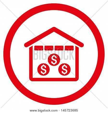 Money Depository rounded icon. Vector illustration style is flat iconic symbol, red color, white background.