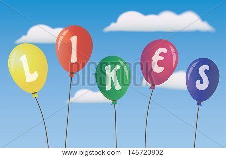 Balloons Likes- Social Media - Vector -