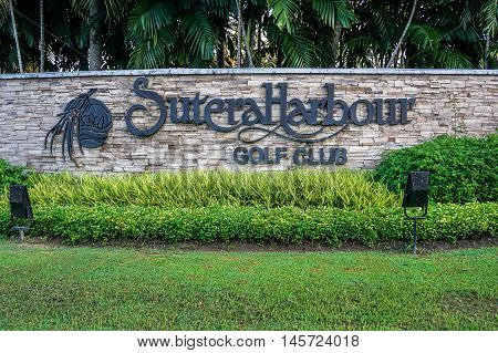 Kota Kinabalu,Sabah-Aug 31,2016:An entrance to the Sutera Harbour Golf Club in Kota Kinabalu,also offers the only night golf facilities in East Malaysia,golfers can enjoy up to 17 hours of golf as day