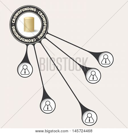 Vector object with theme of crowd funding and euro symbol